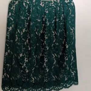 J. Crew Hunter green lace skirt